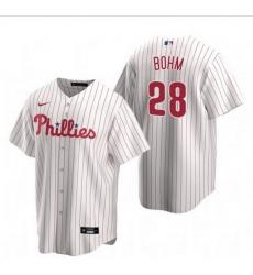 Men Philadelphia Phillies 28 Alec Bohm White Home stitch Jersey