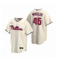 Mens Nike Philadelphia Phillies 45 Zack Wheeler Cream Alternate Stitched Baseball Jersey