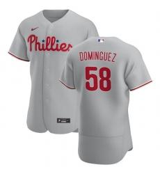 Philadelphia Phillies 58 Seranthony Dominguez Men Nike Gray Road 2020 Authentic Player MLB Jersey