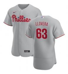 Philadelphia Phillies 63 Mauricio Llovera Men Nike Gray Road 2020 Authentic Player MLB Jersey