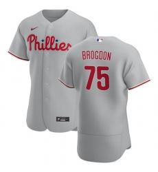 Philadelphia Phillies 75 Connor Brogdon Men Nike Gray Road 2020 Authentic Player MLB Jersey