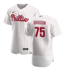 Philadelphia Phillies 75 Connor Brogdon Men Nike White Home 2020 Authentic Player MLB Jersey