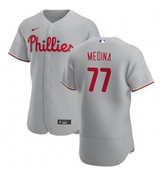 Philadelphia Phillies 77 Adonis Medina Men Nike Gray Road 2020 Authentic Player MLB Jersey