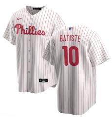 Phillies 10 Batiste White Jersey