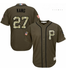 Mens Majestic Pittsburgh Pirates 27 Jung ho Kang Authentic Green Salute to Service MLB Jersey