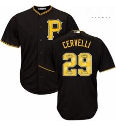 Mens Majestic Pittsburgh Pirates 29 Francisco Cervelli Authentic Black Team Logo Fashion Cool Base MLB Jersey