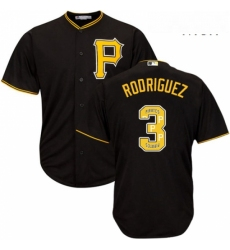 Mens Majestic Pittsburgh Pirates 3 Sean Rodriguez Authentic Black Team Logo Fashion Cool Base MLB Jersey