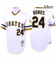 Mens Mitchell and Ness Pittsburgh Pirates 24 Barry Bonds Replica White Throwback MLB Jersey