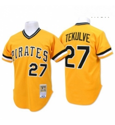 Mens Mitchell and Ness Pittsburgh Pirates 27 Kent Tekulve Authentic Gold Throwback MLB Jersey
