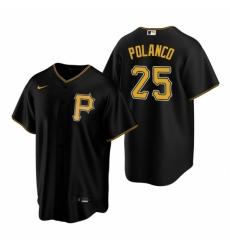 Mens Nike Pittsburgh Pirates 25 Gregory Polanco Black Alternate Stitched Baseball Jerse