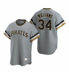 Mens Nike Pittsburgh Pirates 34 Trevor Williams Gray Cooperstown Collection Road Stitched Baseball Jersey