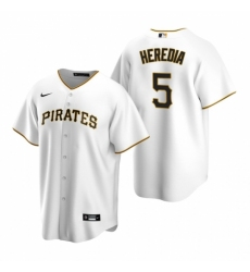 Mens Nike Pittsburgh Pirates 5 Guillermo Heredia White Home Stitched Baseball Jersey