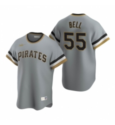 Mens Nike Pittsburgh Pirates 55 Josh Bell Gray Cooperstown Collection Road Stitched Baseball Jersey