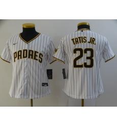 Women Padres 23 Fernando Tatis Jr  white Nike 2020 Cool Base Jersey