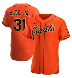 Men San Francisco Giants 31 LaMonte Wade Jr Orange 2021 Alternate Jersey