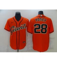 Men's San Francisco Giants #28 Buster Posey Orange Alternate Flex Base Authentic Collection Jersey