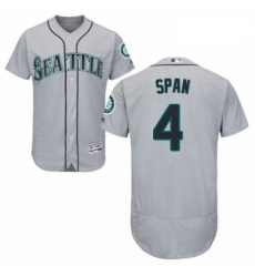 Mens Majestic Seattle Mariners 4 Denard Span Grey Road Flex Base Authentic Collection MLB Jersey