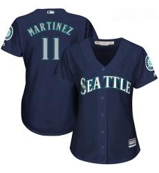 Mariners #11 Edgar Martinez Navy Blue Alternate Women Stitched Baseball Jersey
