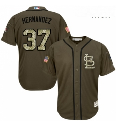 Mens Majestic St Louis Cardinals 37 Keith Hernandez Authentic Green Salute to Service MLB Jersey