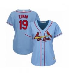 Women's St. Louis Cardinals #19 Tommy Edman Authentic Light Blue Alternate Cool Base Baseball Player Jersey