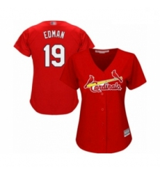 Women's St. Louis Cardinals #19 Tommy Edman Authentic Red Alternate Cool Base Baseball Player Jersey