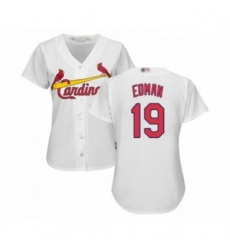 Women's St. Louis Cardinals #19 Tommy Edman Authentic White Home Cool Base Baseball Player Jersey
