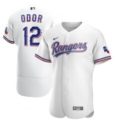 Men Texas Rangers 12 Rougned Odor Men Nike White Home 2020 Flex Base Player MLB Jersey