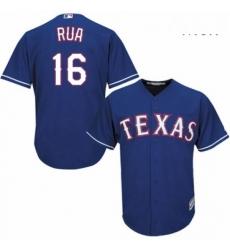 Mens Majestic Texas Rangers 16 Ryan Rua Replica Royal Blue Alternate 2 Cool Base MLB Jersey