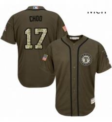 Mens Majestic Texas Rangers 17 Shin Soo Choo Replica Green Salute to Service MLB Jersey