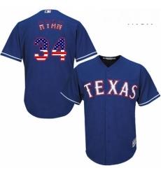 Mens Majestic Texas Rangers 34 Nolan Ryan Replica Royal Blue USA Flag Fashion MLB Jersey