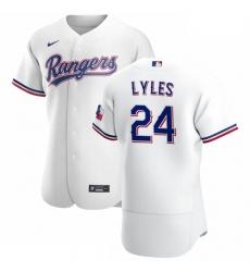 Texas Rangers 24 Jordan Lyles Men Nike White Home 2020 Authentic Player MLB Jersey