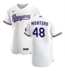 Texas Rangers 48 Rafael Montero Men Nike White Home 2020 Authentic Player MLB Jersey
