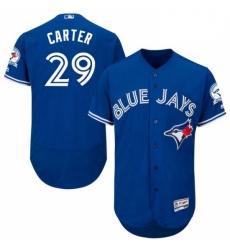 Mens Majestic Toronto Blue Jays 29 Joe Carter Blue Alternate Flex Base Authentic Collection MLB Jersey