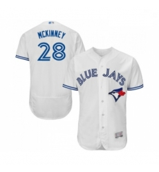 Mens Toronto Blue Jays 28 Billy McKinney White Home Flex Base Authentic Collection Baseball Jersey
