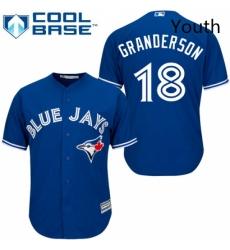 Youth Majestic Toronto Blue Jays 18 Curtis Granderson Replica Blue Alternate MLB Jersey
