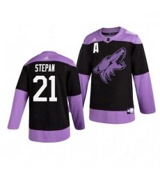 Coyotes 21 Derek Stepan Black Purple Hockey Fights Cancer Adidas Jersey