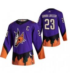 Men Arizona Coyotes 23 Oliver Ekman Larsson Purple Adidas 2020 21 Reverse Retro Alternate NHL Jersey