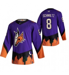 Men Arizona Coyotes 8 Nick Schmaltz Purple Adidas 2020 21 Reverse Retro Alternate NHL Jersey