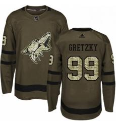 Mens Adidas Arizona Coyotes 99 Wayne Gretzky Authentic Green Salute to Service NHL Jersey