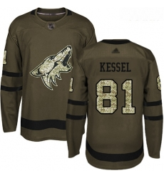 Coyotes #81 Phil Kessel Green Salute to Service Stitched Youth Hockey Jersey