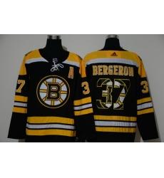 Men Boston Bruins 37 Patrice Bergeron Black Adidas Fashion Jersey