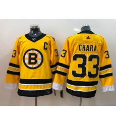 Men Boston Bruins Zdeno Chara 33 Yellow 2021 Adidas Stitched NHL Jersey