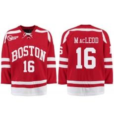 Boston University Terriers BU 16 John MacLeod Red Stitched Hockey Jersey