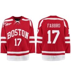 Boston University Terriers BU 17 Dante Fabbro Red Stitched Hockey Jersey