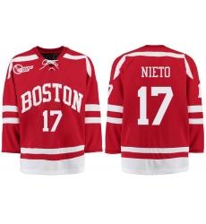 Boston University Terriers BU 17 Matt Nieto Red Stitched Hockey Jersey