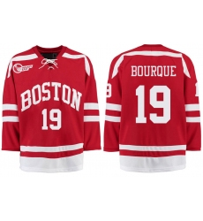 Boston University Terriers BU 19 Chris Bourque Red Stitched Hockey Jersey