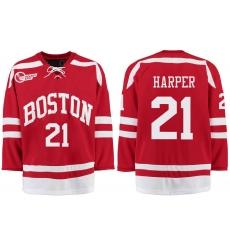 Boston University Terriers BU 21 Patrick Harper Red Stitched Hockey Jersey