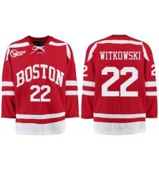 Boston University Terriers BU 22 Jake Witkowski Red Stitched Hockey Jersey