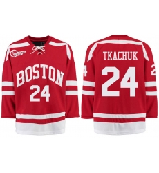 Boston University Terriers BU 24 Keith Tkachuk Red Stitched Hockey Jersey