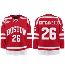 Boston University Terriers BU 26 Kasper Kotkansalo Red Stitched Hockey Jersey